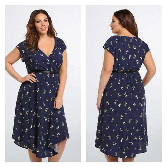 TORRID Plus Size Butterfly Print Belted Dress 4